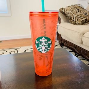 Starbucks tumbler orange pinkish coral s…